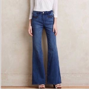 Pilcro and Letterpress Braided Pockets Flare Jeans